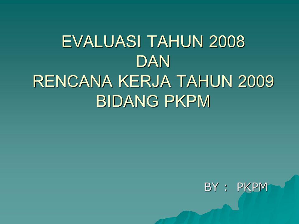EVALUASI TAHUN 2008 DAN RENCANA KERJA TAHUN 2009 BIDANG PKPM BY : PKPM