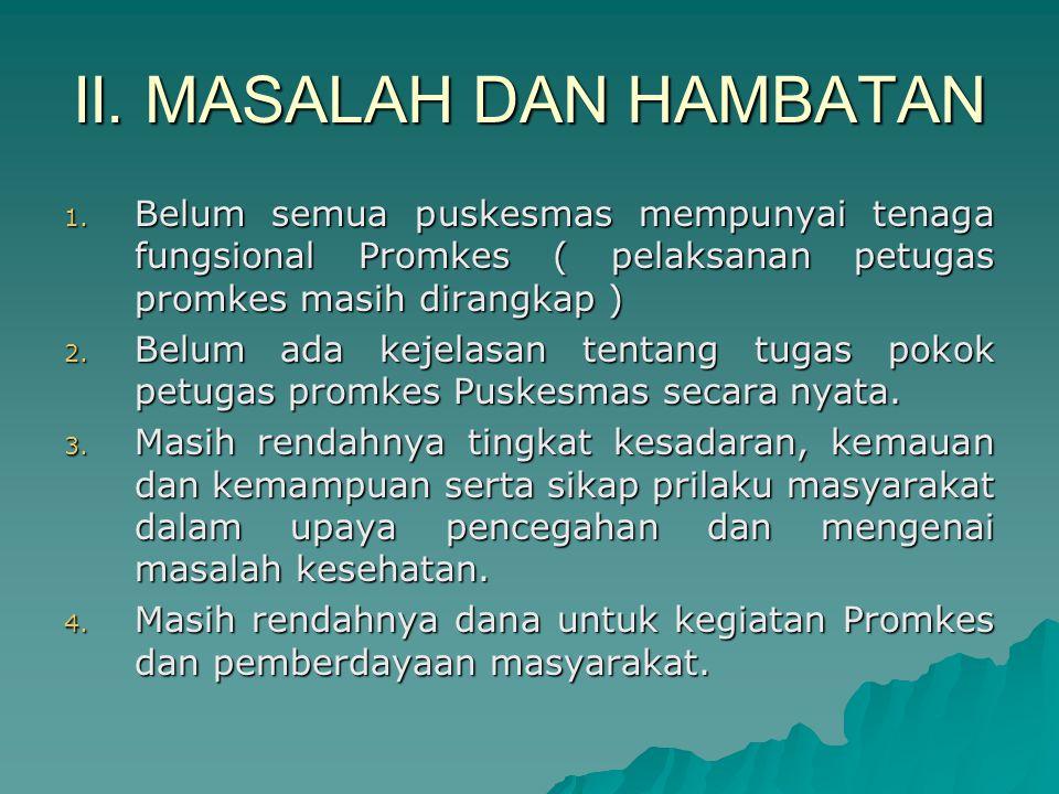 II.MASALAH DAN HAMBATAN 1.