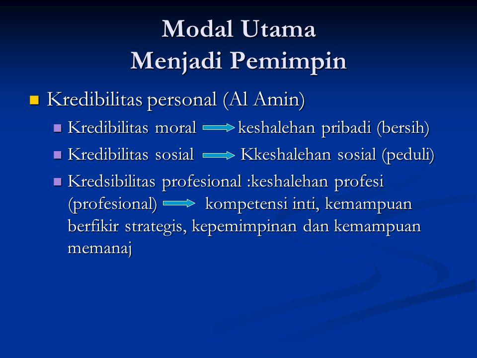 Modal Utama Menjadi Pemimpin Kredibilitas personal (Al Amin) Kredibilitas personal (Al Amin) Kredibilitas moral keshalehan pribadi (bersih) Kredibilit