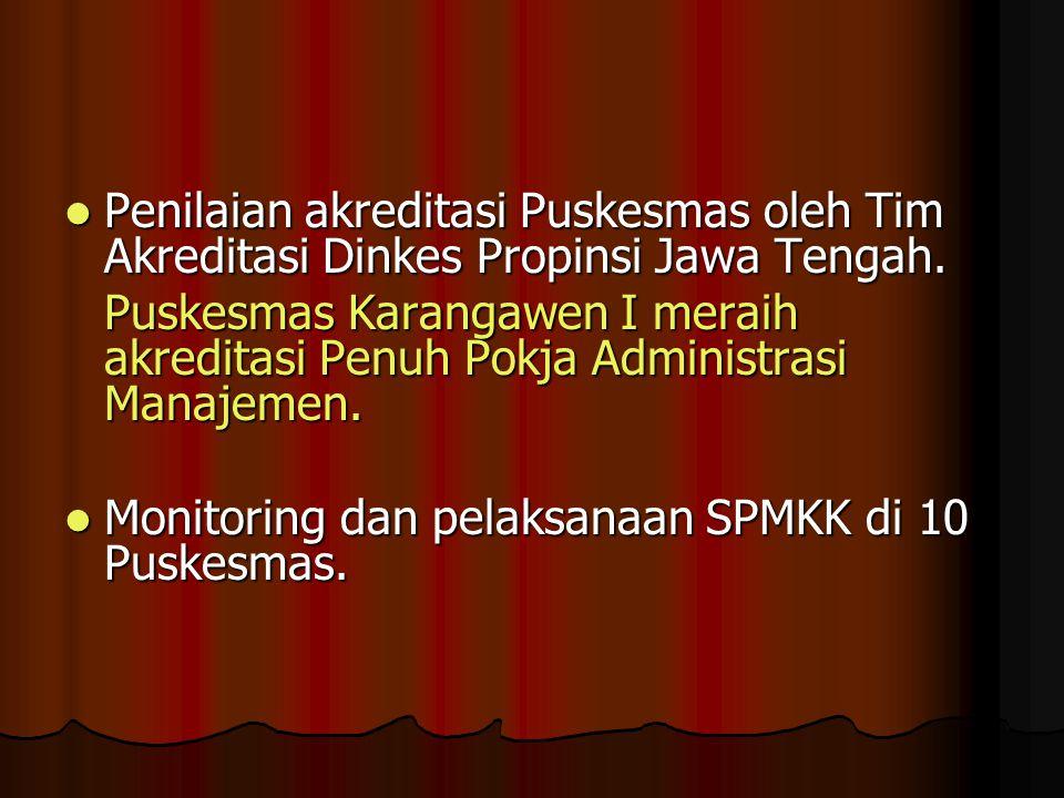 Penilaian akreditasi Puskesmas oleh Tim Akreditasi Dinkes Propinsi Jawa Tengah.