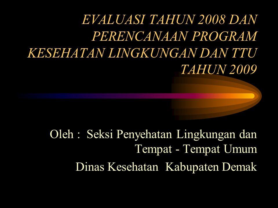 EVALUASI TAHUN 2008 DAN PERENCANAAN PROGRAM KESEHATAN LINGKUNGAN DAN TTU TAHUN 2009 Oleh : Seksi Penyehatan Lingkungan dan Tempat - Tempat Umum Dinas Kesehatan Kabupaten Demak