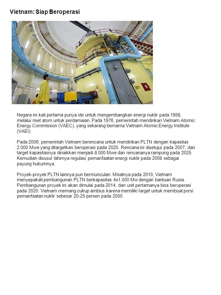 Filipina: Reaktor Jadi Tempat Rekreasi Negara ini memiliki PLTN Bataan, yang mulai dibangun pada 1976.