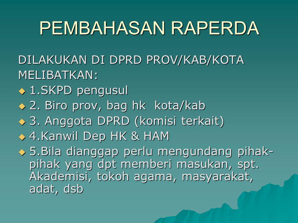 PEMBAHASAN RAPERDA DILAKUKAN DI DPRD PROV/KAB/KOTA MELIBATKAN:  1.SKPD pengusul  2.