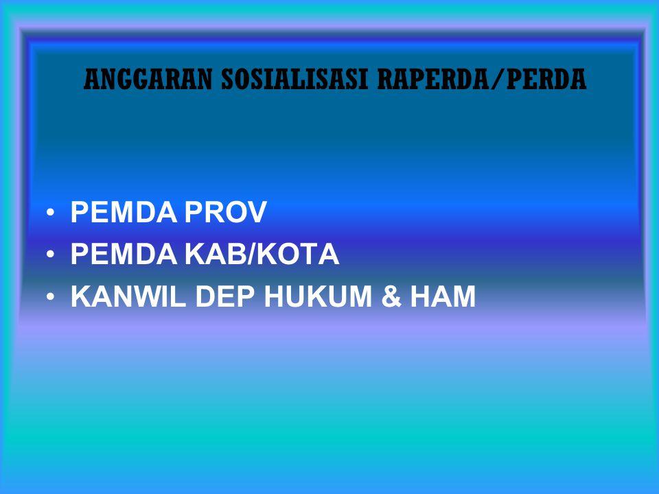ANGGARAN SOSIALISASI RAPERDA/PERDA PEMDA PROV PEMDA KAB/KOTA KANWIL DEP HUKUM & HAM