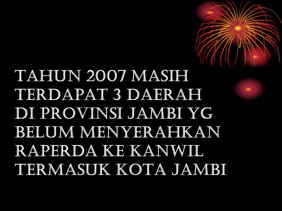 TAHUN 2007 MASIH TERDAPAT 3 DAERAH DI PROVINSI JAMBI YG BELUM MENYERAHKAN RAPERDA KE KANWIL TERMASUK KOTA JAMBI