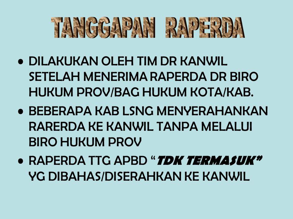 DILAKUKAN OLEH TIM DR KANWIL SETELAH MENERIMA RAPERDA DR BIRO HUKUM PROV/BAG HUKUM KOTA/KAB.