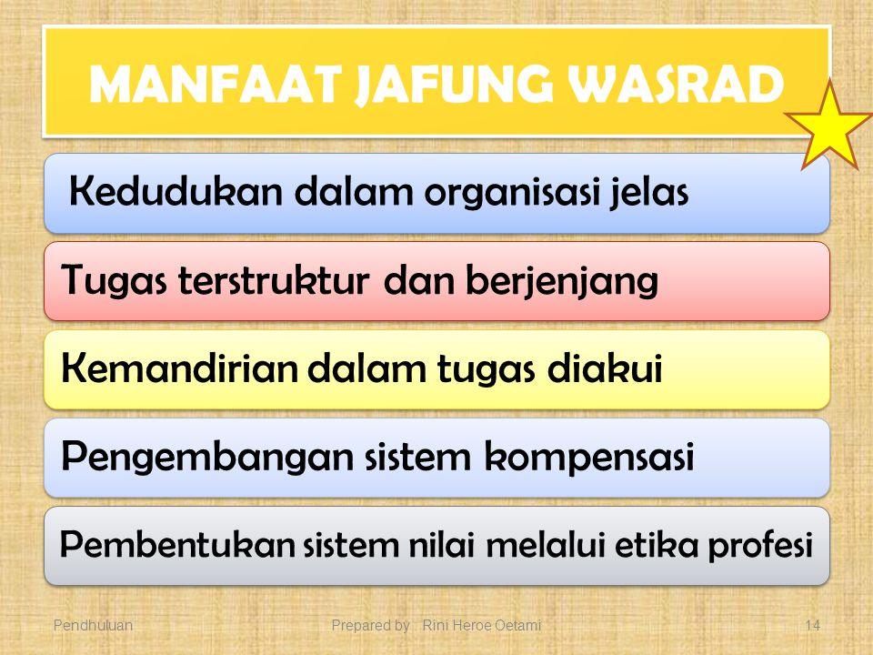 TUJUAN JAFUNG WASRAD Meningkatkan Produktivitas PNS Produktivitas Unit Kerja Karier Profesionalisme PendahulaunPrepared by : Rini Heroe Oetami13