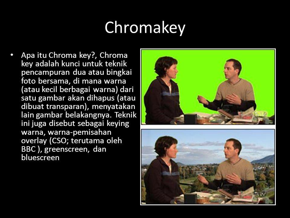 Chromakey Apa itu Chroma key?, Chroma key adalah kunci untuk teknik pencampuran dua atau bingkai foto bersama, di mana warna (atau kecil berbagai warna) dari satu gambar akan dihapus (atau dibuat transparan), menyatakan lain gambar belakangnya.