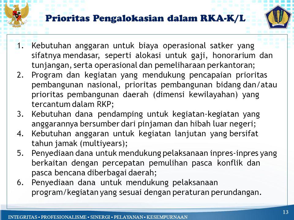 INTEGRITAS PROFESIONALISME SINERGI PELAYANAN KESEMPURNAAN Prioritas Pengalokasian dalam RKA-K/L 13 1.Kebutuhan anggaran untuk biaya operasional satker yang sifatnya mendasar, seperti alokasi untuk gaji, honorarium dan tunjangan, serta operasional dan pemeliharaan perkantoran; 2.Program dan kegiatan yang mendukung pencapaian prioritas pembangunan nasional, prioritas pembangunan bidang dan/atau prioritas pembangunan daerah (dimensi kewilayahan) yang tercantum dalam RKP; 3.Kebutuhan dana pendamping untuk kegiatan-kegiatan yang anggarannya bersumber dari pinjaman dan hibah luar negeri; 4.Kebutuhan anggaran untuk kegiatan lanjutan yang bersifat tahun jamak (multiyears); 5.Penyediaan dana untuk mendukung pelaksanaan inpres-inpres yang berkaitan dengan percepatan pemulihan pasca konflik dan pasca bencana diberbagai daerah; 6.Penyediaan dana untuk mendukung pelaksanaan program/kegiatan yang sesuai dengan peraturan perundangan.