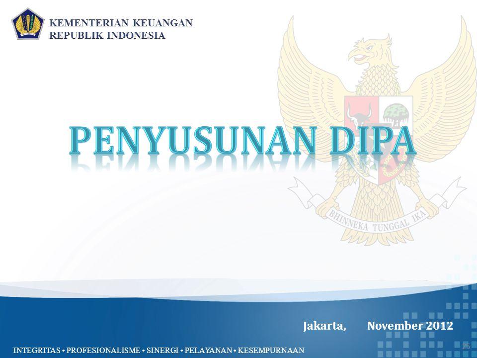 INTEGRITAS PROFESIONALISME SINERGI PELAYANAN KESEMPURNAAN Jakarta, November 2012 25