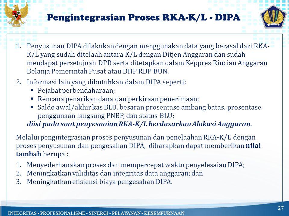 INTEGRITAS PROFESIONALISME SINERGI PELAYANAN KESEMPURNAAN Pengintegrasian Proses RKA-K/L - DIPA 27 1.Penyusunan DIPA dilakukan dengan menggunakan data yang berasal dari RKA- K/L yang sudah ditelaah antara K/L dengan Ditjen Anggaran dan sudah mendapat persetujuan DPR serta ditetapkan dalam Keppres Rincian Anggaran Belanja Pemerintah Pusat atau DHP RDP BUN.