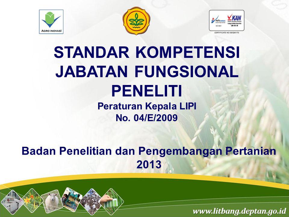www.litbang.deptan.go.id STANDAR KOMPETENSI JABATAN FUNGSIONAL PENELITI Peraturan Kepala LIPI No. 04/E/2009 Badan Penelitian dan Pengembangan Pertania