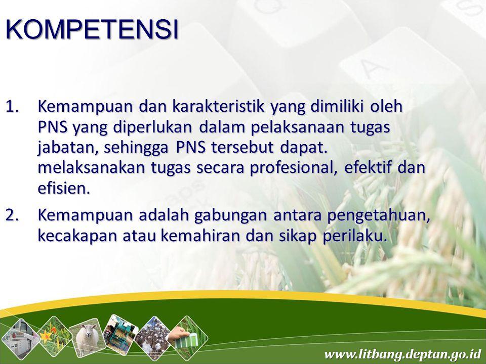 www.litbang.deptan.go.id KOMPETENSI 1.Kemampuan dan karakteristik yang dimiliki oleh PNS yang diperlukan dalam pelaksanaan tugas jabatan, sehingga PNS