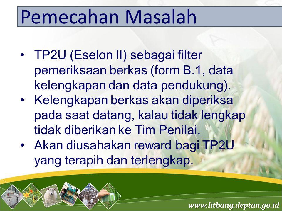 www.litbang.deptan.go.id Pemecahan Masalah TP2U (Eselon II) sebagai filter pemeriksaan berkas (form B.1, data kelengkapan dan data pendukung). Kelengk