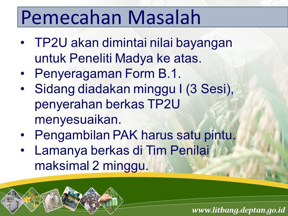 www.litbang.deptan.go.id Pemecahan Masalah TP2U akan dimintai nilai bayangan untuk Peneliti Madya ke atas. Penyeragaman Form B.1. Sidang diadakan ming