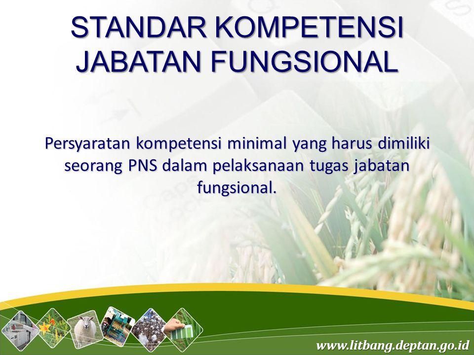 www.litbang.deptan.go.id STANDAR KOMPETENSI JABATAN FUNGSIONAL Persyaratan kompetensi minimal yang harus dimiliki seorang PNS dalam pelaksanaan tugas jabatan fungsional.