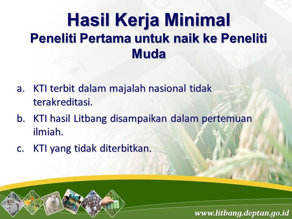 www.litbang.deptan.go.id Hasil Kerja Minimal Peneliti Pertama untuk naik ke Peneliti Muda a.KTI terbit dalam majalah nasional tidak terakreditasi.