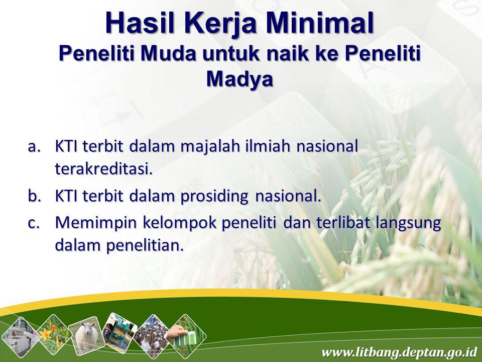 www.litbang.deptan.go.id Hasil Kerja Minimal Peneliti Muda untuk naik ke Peneliti Madya a.KTI terbit dalam majalah ilmiah nasional terakreditasi. b.KT