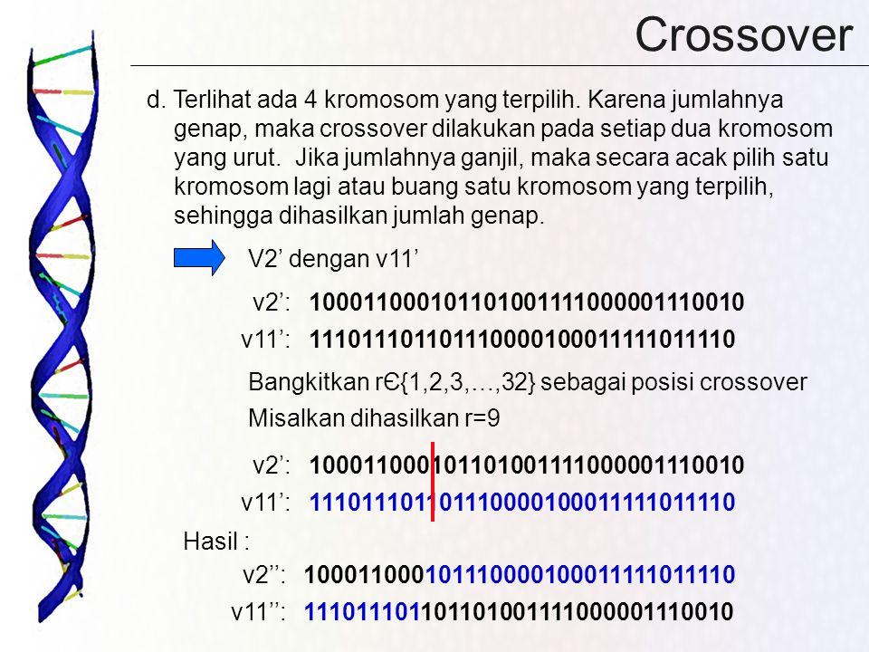 Crossover d. Terlihat ada 4 kromosom yang terpilih. Karena jumlahnya genap, maka crossover dilakukan pada setiap dua kromosom yang urut. Jika jumlahny