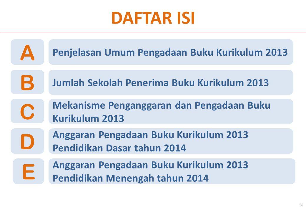 DAFTAR ISI 2 Penjelasan Umum Pengadaan Buku Kurikulum 2013 A Jumlah Sekolah Penerima Buku Kurikulum 2013 B Mekanisme Penganggaran dan Pengadaan Buku K
