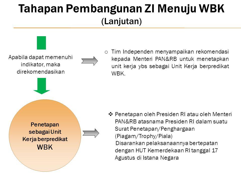 o Tim Independen menyampaikan rekomendasi kepada Menteri PAN&RB untuk menetapkan unit kerja ybs sebagai Unit Kerja berpredikat WBK.  Penetapan oleh P