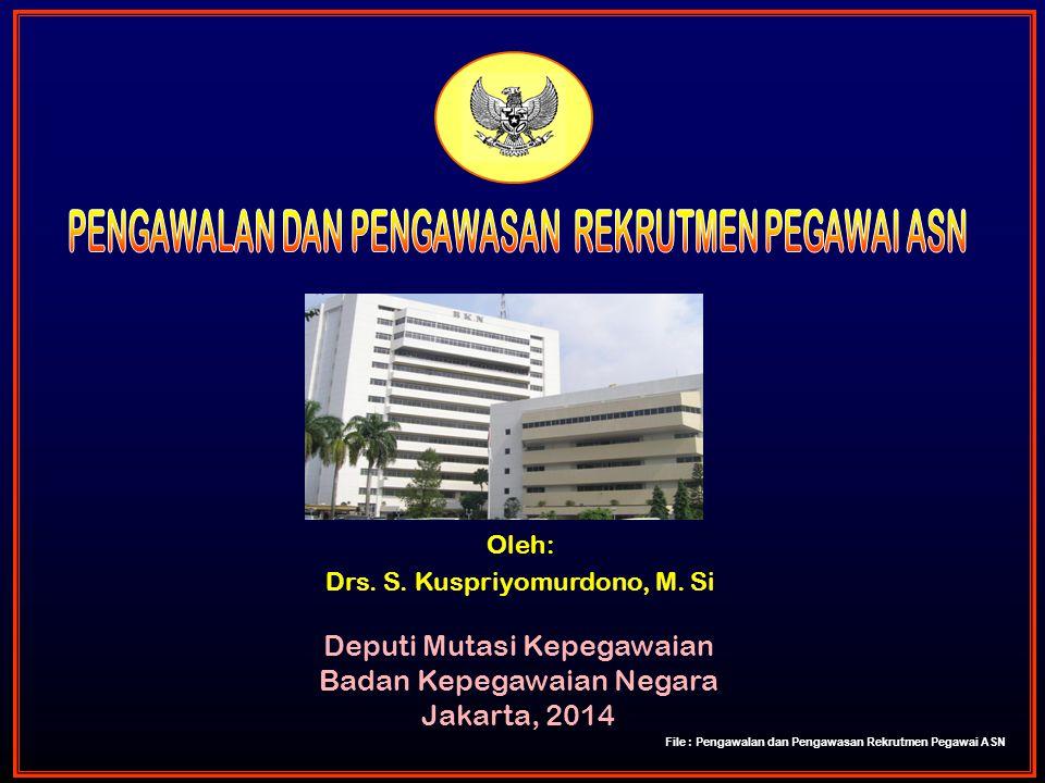 Oleh: Drs. S. Kuspriyomurdono, M. Si Deputi Mutasi Kepegawaian Badan Kepegawaian Negara Jakarta, 2014 File : Pengawalan dan Pengawasan Rekrutmen Pegaw