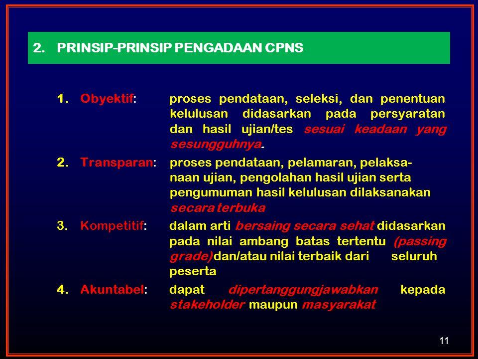 2.PRINSIP-PRINSIP PENGADAAN CPNS 1.Obyektif: proses pendataan, seleksi, dan penentuan kelulusan didasarkan pada persyaratan dan hasil ujian/tes sesuai
