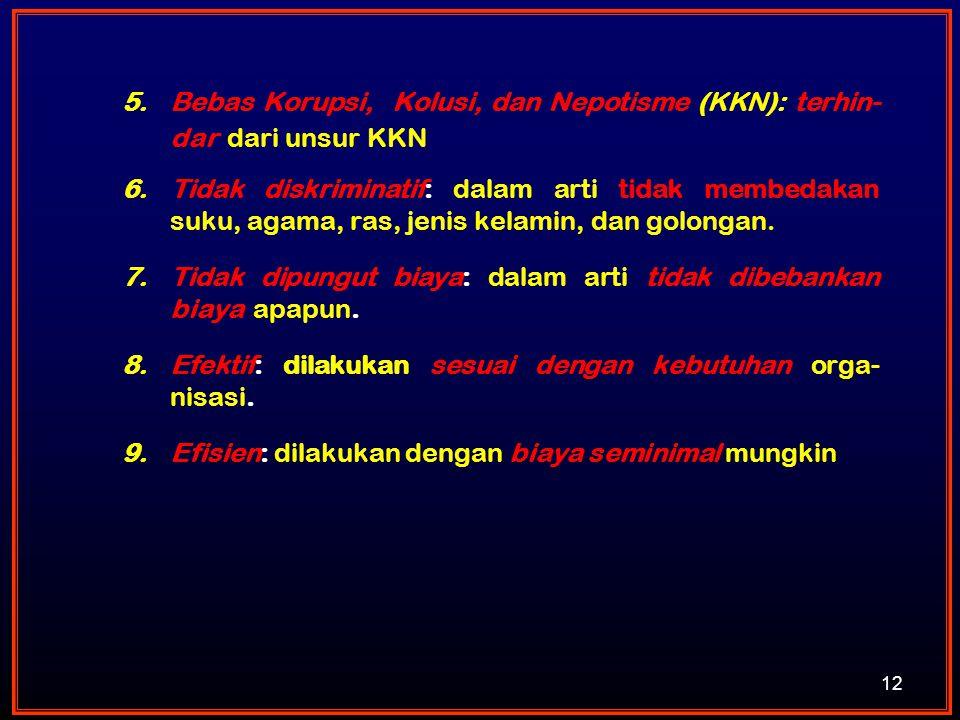 5.Bebas Korupsi, Kolusi, dan Nepotisme (KKN): terhin- dar dari unsur KKN 6.Tidak diskriminatif: dalam arti tidak membedakan suku, agama, ras, jenis ke
