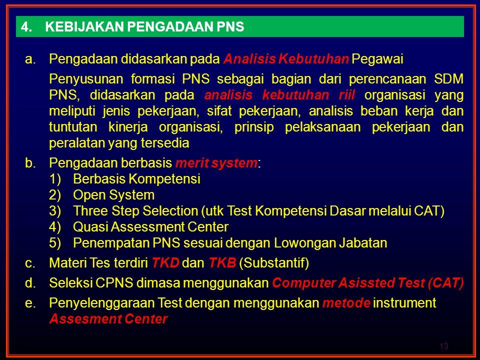 4.KEBIJAKAN PENGADAAN PNS 13 a.Pengadaan didasarkan pada Analisis Kebutuhan Pegawai Penyusunan formasi PNS sebagai bagian dari perencanaan SDM PNS, di