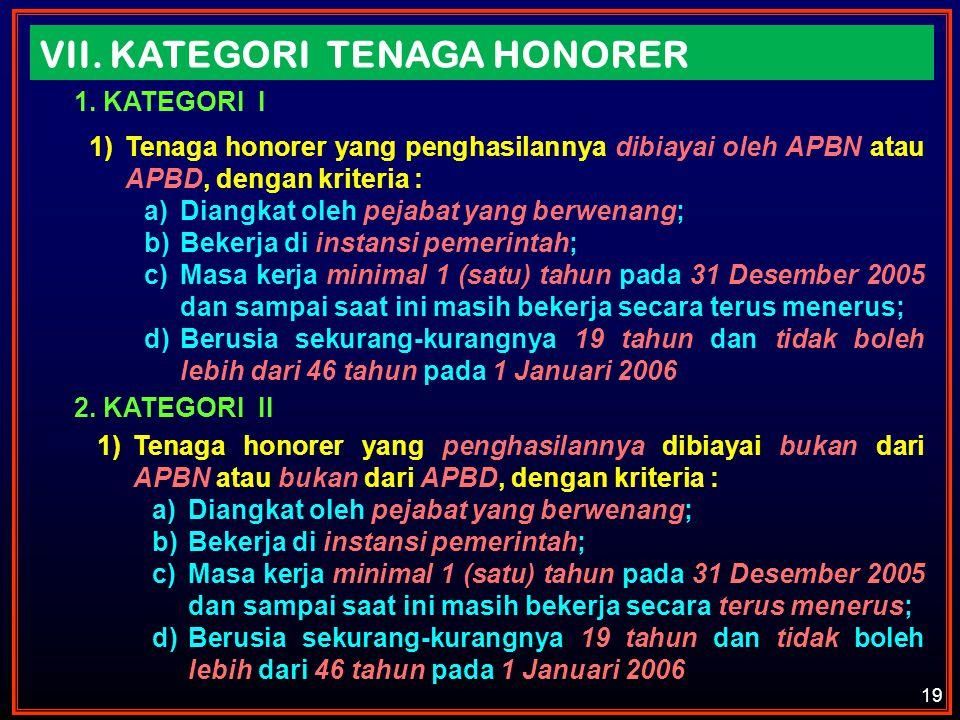 19 VII. KATEGORI TENAGA HONORER 1.KATEGORI I 1)Tenaga honorer yang penghasilannya dibiayai oleh APBN atau APBD, dengan kriteria : a)Diangkat oleh peja