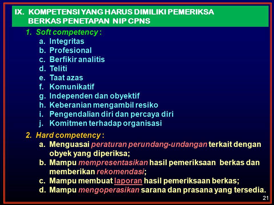 IX. KOMPETENSI YANG HARUS DIMILIKI PEMERIKSA BERKAS PENETAPAN NIP CPNS 1.Soft competency : a.Integritas b.Profesional c.Berfikir analitis d.Teliti e.T