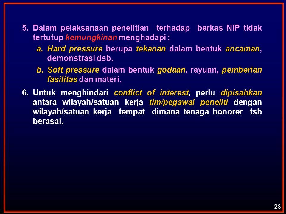 5.Dalam pelaksanaan penelitian terhadap berkas NIP tidak tertutup kemungkinan menghadapi : a.Hard pressure berupa tekanan dalam bentuk ancaman, demons