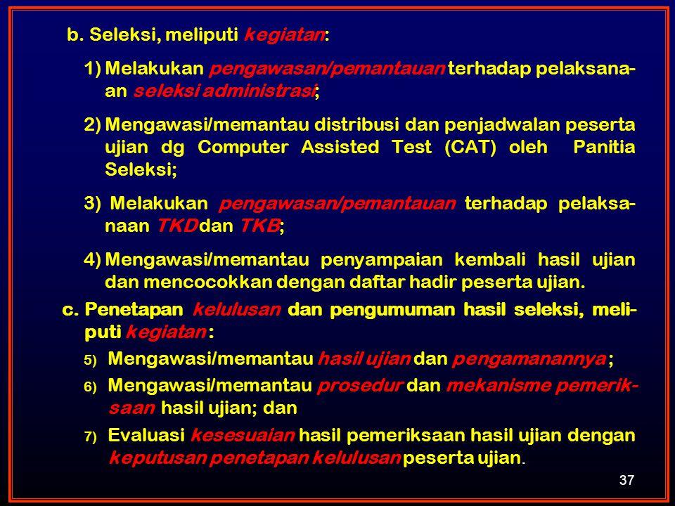 37 b. Seleksi, meliputi kegiatan: 1)Melakukan pengawasan/pemantauan terhadap pelaksana- an seleksi administrasi; 2)Mengawasi/memantau distribusi dan p