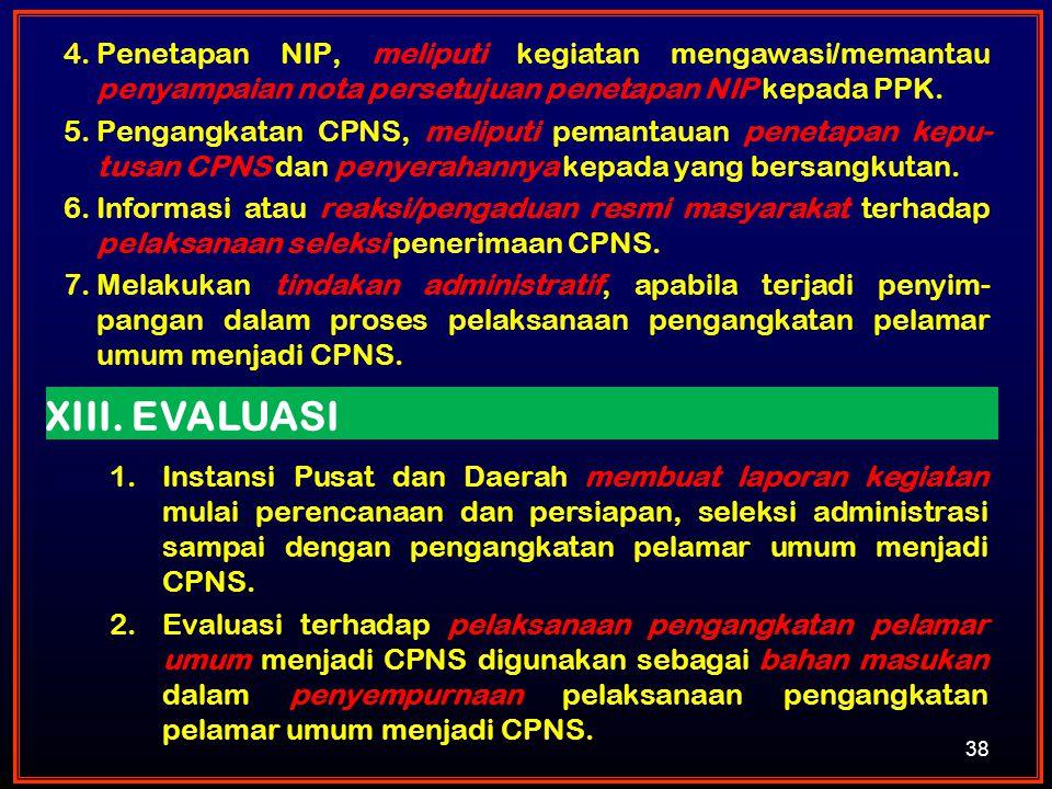 38 4.Penetapan NIP, meliputi kegiatan mengawasi/memantau penyampaian nota persetujuan penetapan NIP kepada PPK. 5.Pengangkatan CPNS, meliputi pemantau