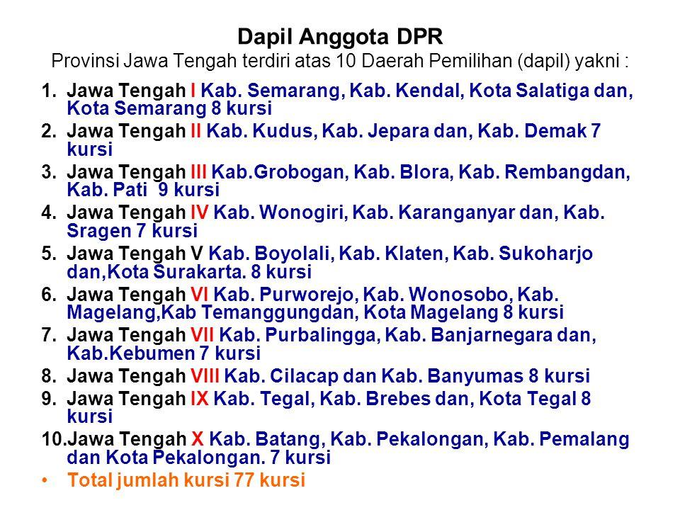 Dapil Anggota DPR Provinsi Jawa Tengah terdiri atas 10 Daerah Pemilihan (dapil) yakni : 1.Jawa Tengah I Kab. Semarang, Kab. Kendal, Kota Salatiga dan,
