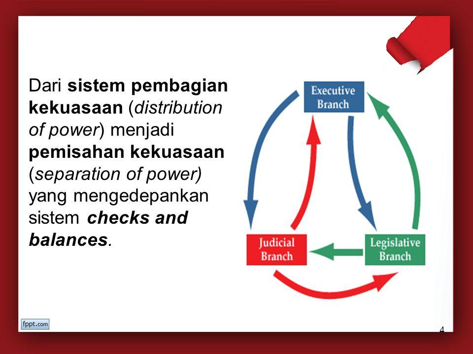 Dari sistem pembagian kekuasaan (distribution of power) menjadi pemisahan kekuasaan (separation of power) yang mengedepankan sistem checks and balance