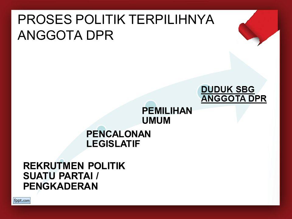 PROSES POLITIK TERPILIHNYA ANGGOTA DPR REKRUTMEN POLITIK SUATU PARTAI / PENGKADERAN PENCALONAN LEGISLATIF PEMILIHAN UMUM DUDUK SBG ANGGOTA DPR