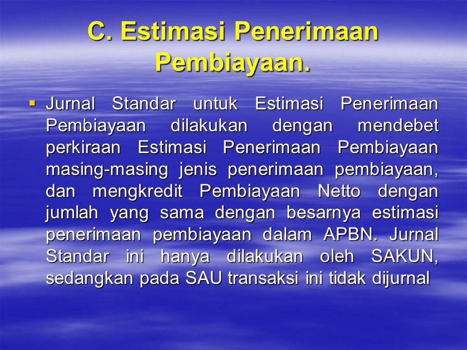 C. Estimasi Penerimaan Pembiayaan.  Jurnal Standar untuk Estimasi Penerimaan Pembiayaan dilakukan dengan mendebet perkiraan Estimasi Penerimaan Pembi
