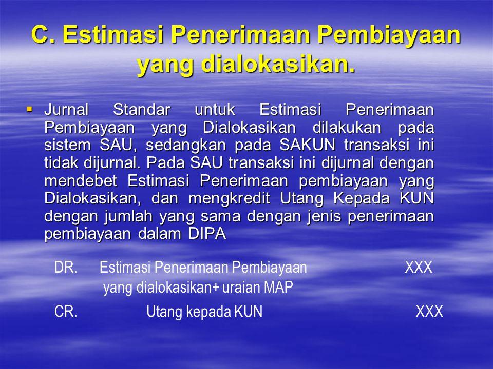 C. Estimasi Penerimaan Pembiayaan yang dialokasikan.  Jurnal Standar untuk Estimasi Penerimaan Pembiayaan yang Dialokasikan dilakukan pada sistem SAU