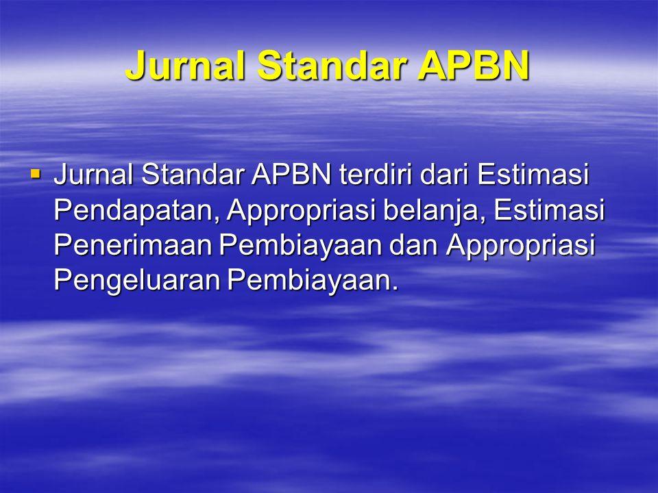 Jurnal Standar APBN  Jurnal Standar APBN terdiri dari Estimasi Pendapatan, Appropriasi belanja, Estimasi Penerimaan Pembiayaan dan Appropriasi Pengel