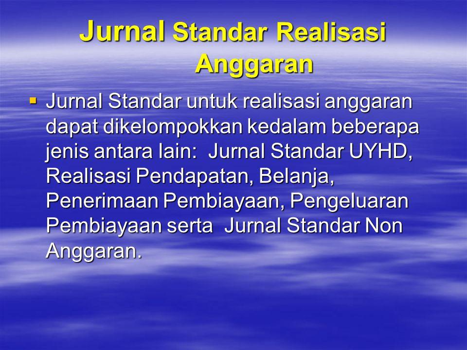Jurnal Standar Realisasi Anggaran  Jurnal Standar untuk realisasi anggaran dapat dikelompokkan kedalam beberapa jenis antara lain: Jurnal Standar UYH