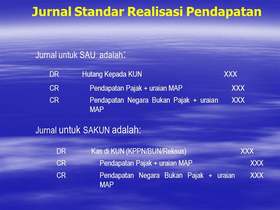 Jurnal Standar Realisasi Pendapatan Jurnal untuk SAU adalah : DRHutang Kepada KUNXXX CRPendapatan Pajak + uraian MAPXXX CRPendapatan Negara Bukan Paja
