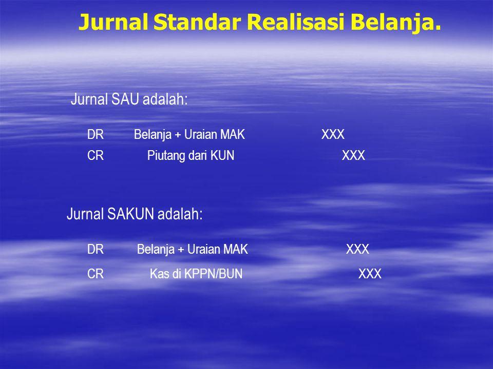 Jurnal Standar Realisasi Belanja. Jurnal SAU adalah: DRBelanja + Uraian MAKXXX CRPiutang dari KUNXXX Jurnal SAKUN adalah: DRBelanja + Uraian MAKXXX CR