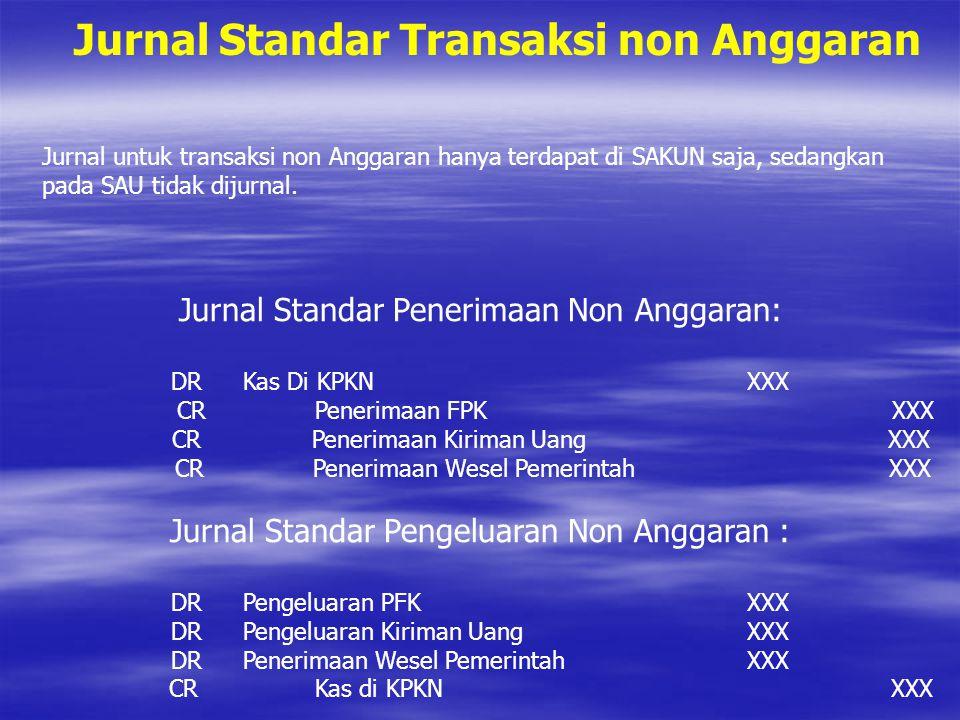 Jurnal Standar Transaksi non Anggaran Jurnal untuk transaksi non Anggaran hanya terdapat di SAKUN saja, sedangkan pada SAU tidak dijurnal. Jurnal Stan