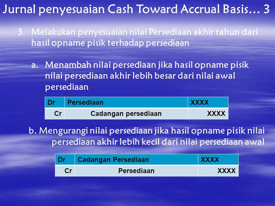 Jurnal penyesuaian Cash Toward Accrual Basis… 3 3.Melakukan penyesuaian nilai Persediaan akhir tahun dari hasil opname pisik terhadap persediaan a.Men