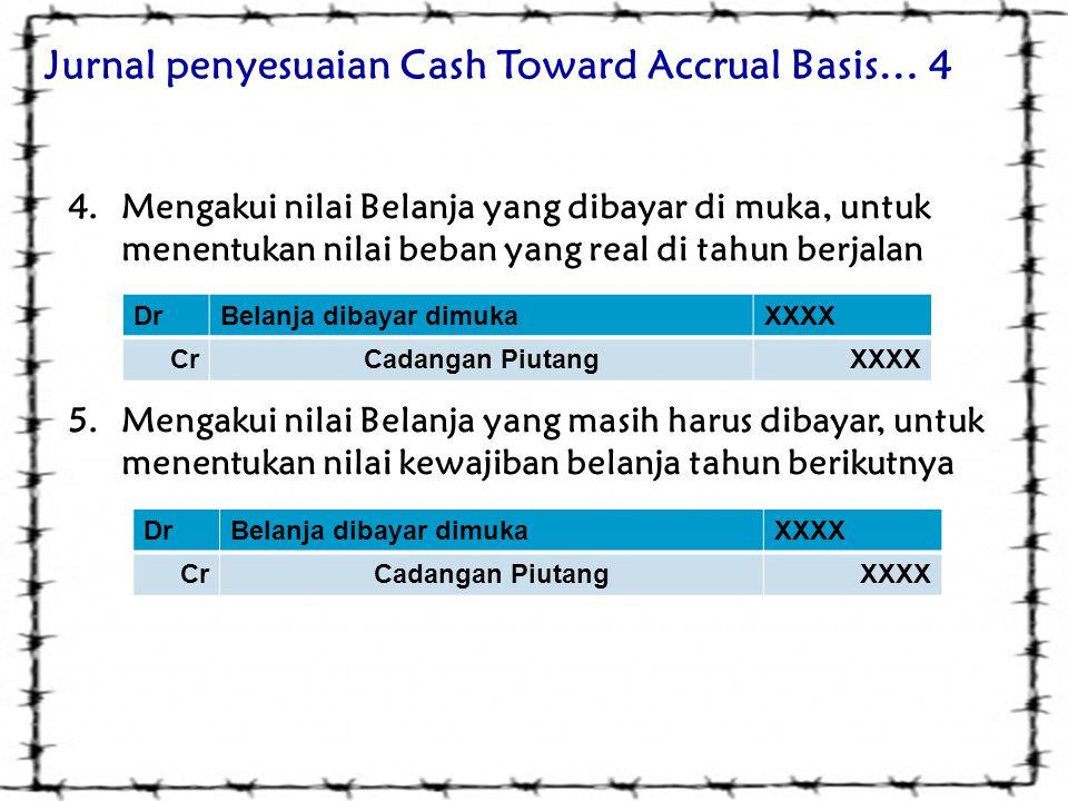 Jurnal penyesuaian Cash Toward Accrual Basis… 4 4.Mengakui nilai Belanja yang dibayar di muka, untuk menentukan nilai beban yang real di tahun berjala