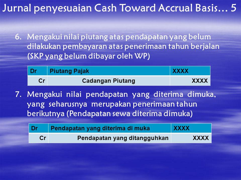 Jurnal penyesuaian Cash Toward Accrual Basis… 5 6.Mengakui nilai piutang atas pendapatan yang belum dilakukan pembayaran atas penerimaan tahun berjala