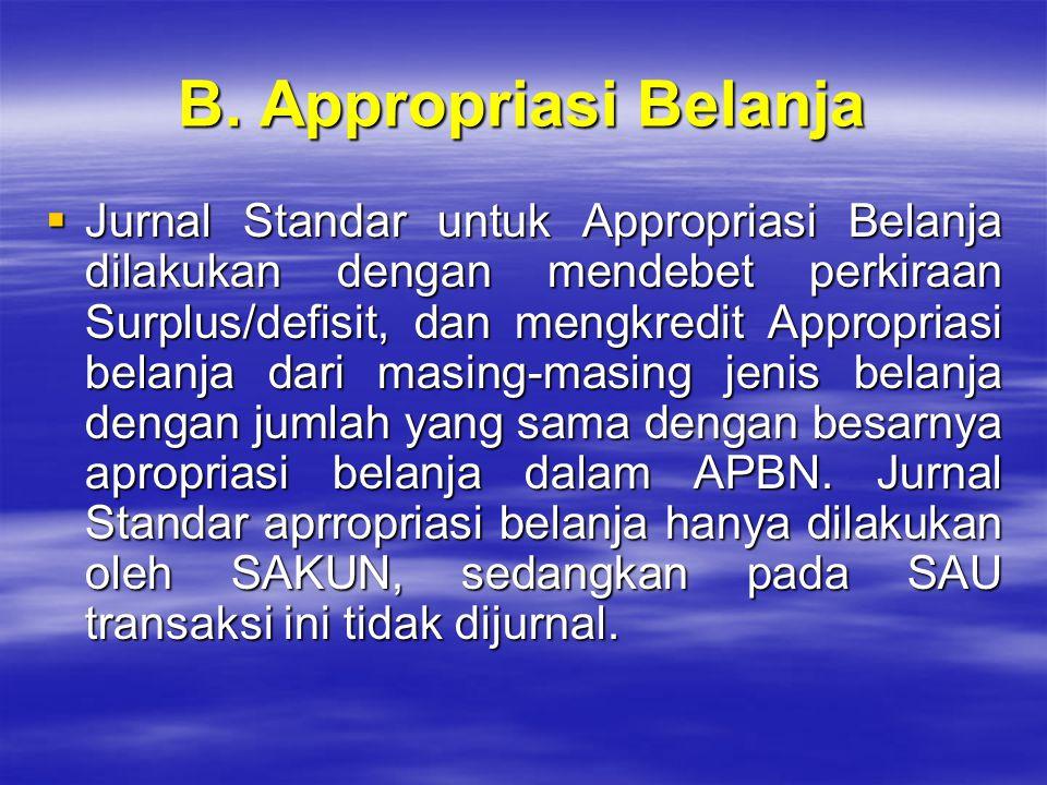 B. Appropriasi Belanja  Jurnal Standar untuk Appropriasi Belanja dilakukan dengan mendebet perkiraan Surplus/defisit, dan mengkredit Appropriasi bela