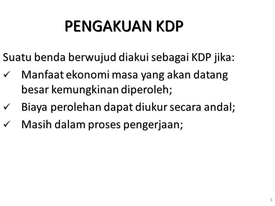5 PENGAKUAN KDP Suatu benda berwujud diakui sebagai KDP jika: Manfaat ekonomi masa yang akan datang besar kemungkinan diperoleh; Manfaat ekonomi masa