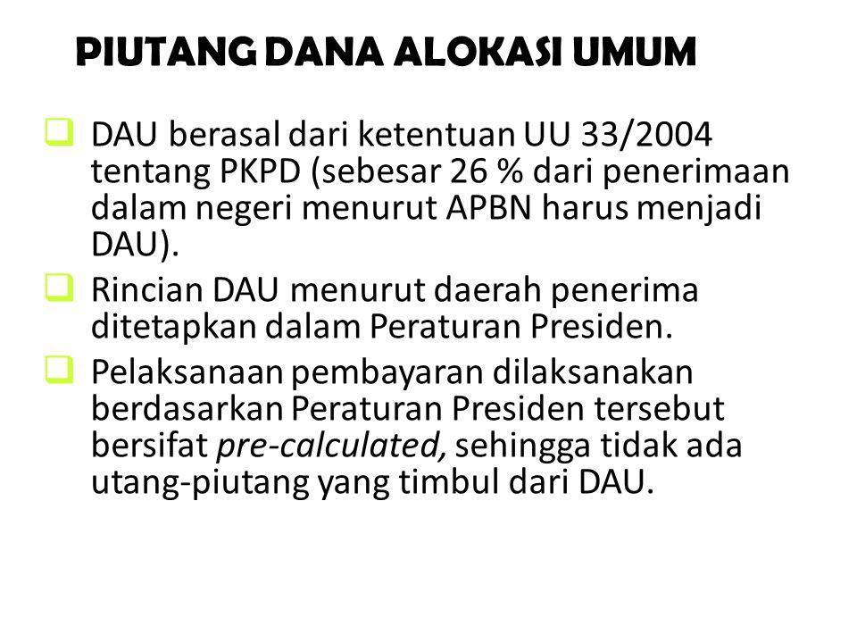PIUTANG DANA ALOKASI UMUM  DAU berasal dari ketentuan UU 33/2004 tentang PKPD (sebesar 26 % dari penerimaan dalam negeri menurut APBN harus menjadi D